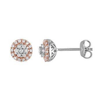 Two Tone Sterling Silver 1/4 Carat T.W. Diamond Halo Stud Earrings