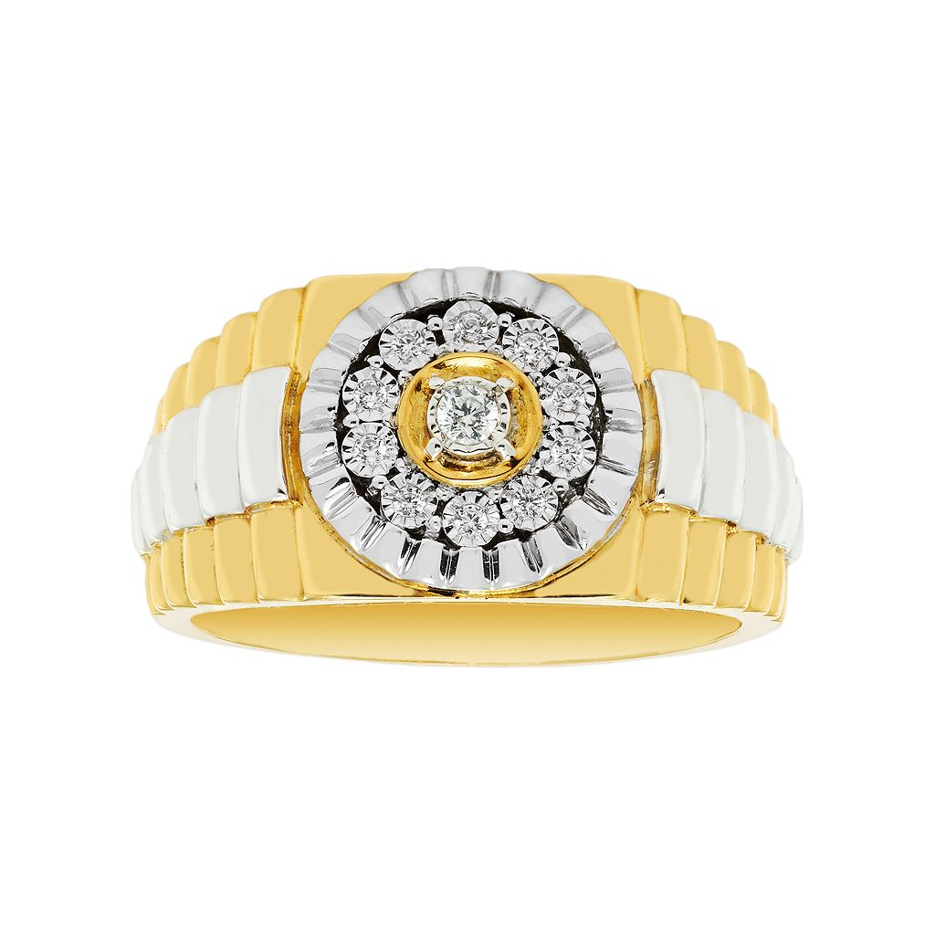 Men's Two Tone 10k Gold Over Silver 1/10 Carat T.W. Diamond Ring