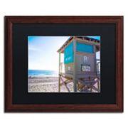 Trademark Fine Art Florida Beach Guard Dark Finish Framed Wall Art