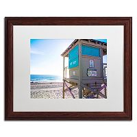 Trademark Fine Art Florida Beach Guard Dark Finish Framed Wall Art