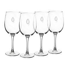 Cathy's Concepts 4 pc Monogram Spooky White Wine Glass Set