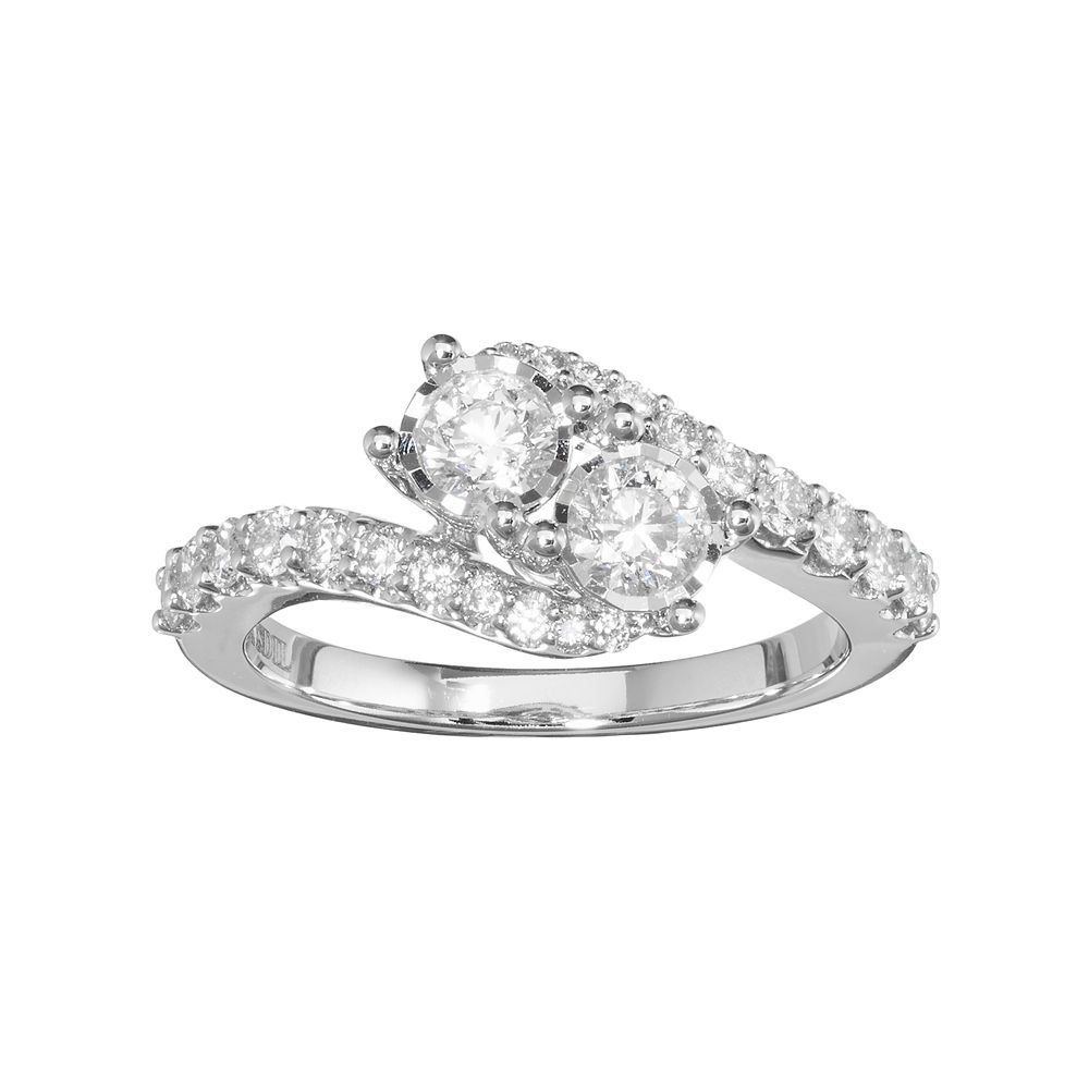 10k White Gold 1 Carat Tw Diamond 2stone Bypass Engagement Ring