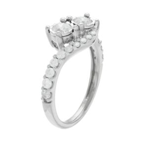 10k Gold 1 Carat T.W. Diamond 2-Stone Bypass Engagement Ring