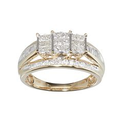 10k Gold 1 Carat T.W. Diamond Cluster Engagement Ring by