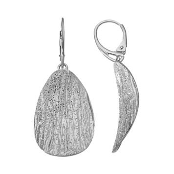 Sterling Silver Textured Oval Drop Earrings