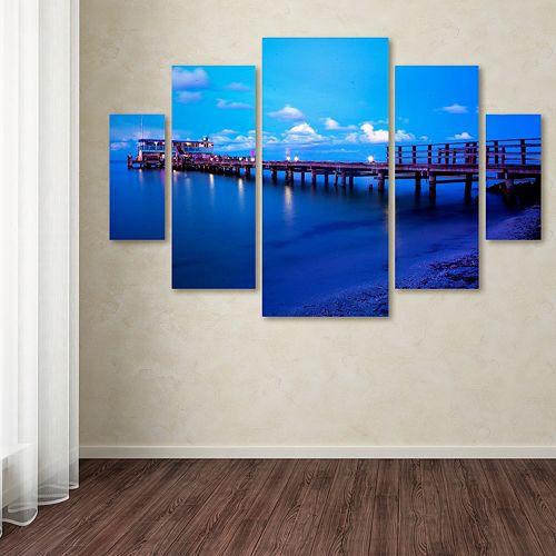 Trademark Fine Art Florida Pier Canvas Wall Art 5-piece Set
