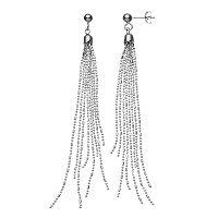 Sterling Silver Beaded Fringe Drop Earrings