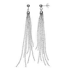 Sterling Silver Beaded Fringe Drop Earrings