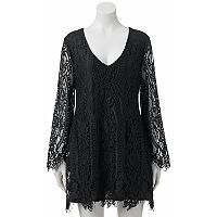 Juniors' Trixxi Lace Long Sleeve Dress