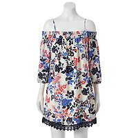 Juniors' Trixxi Floral Off-the-Shoulder Dress