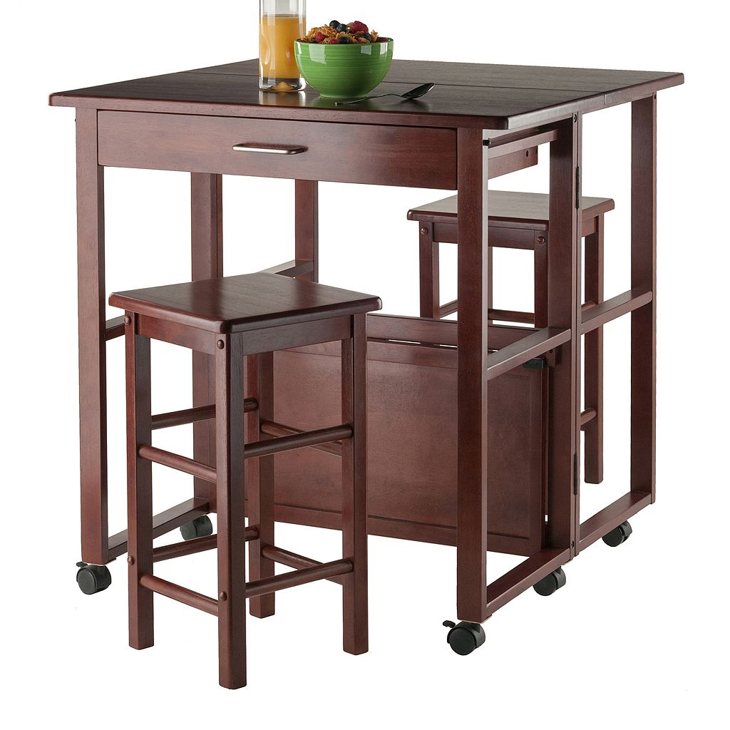 Winsome Fremont Space Saver Bar Table & Counter Stool 3-piece Set