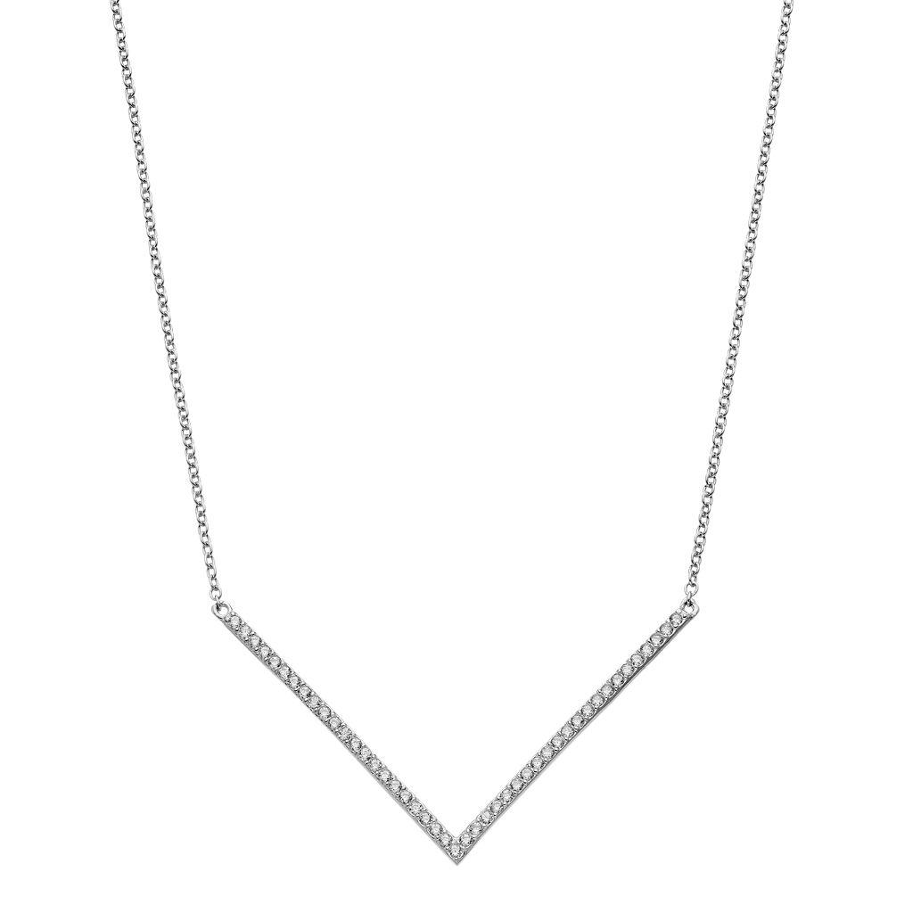 Sterling Silver Cubic Zirconia Chevron Necklace
