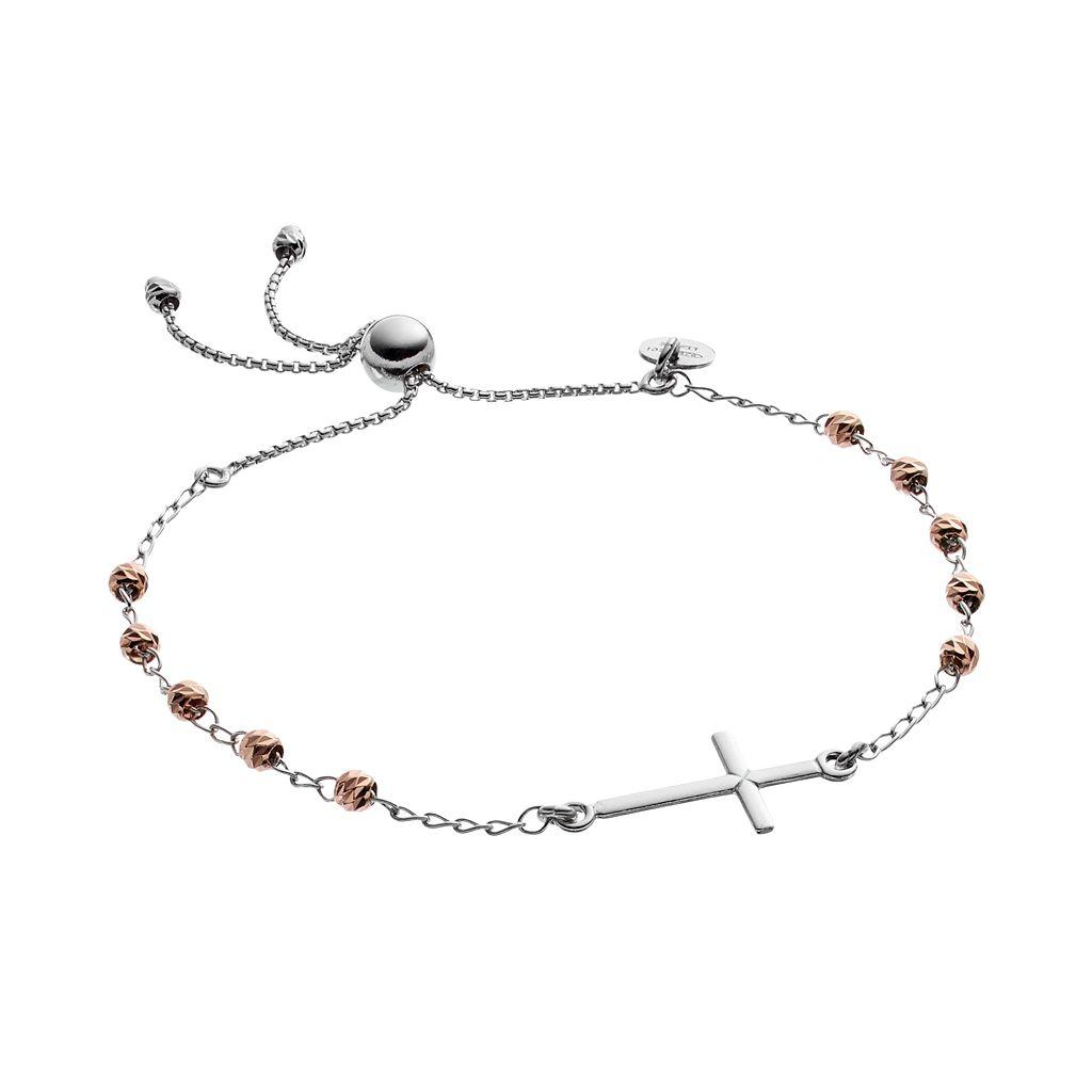 Two Tone Sterling Silver Sideways Cross Beaded Lariat Bracelet