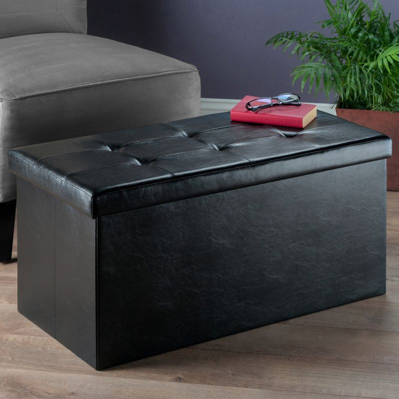 Winsome Ashford Tufted Coffee Table Storage Ottoman, Black
