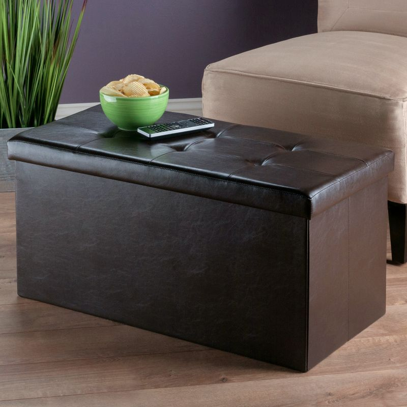 Winsome Ashford Tufted Coffee Table Storage Ottoman, Brown