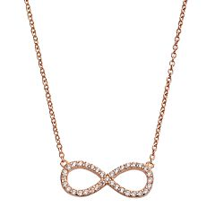 Rose Gold Tone Sterling Silver Cubic Zirconia Infinity Necklace