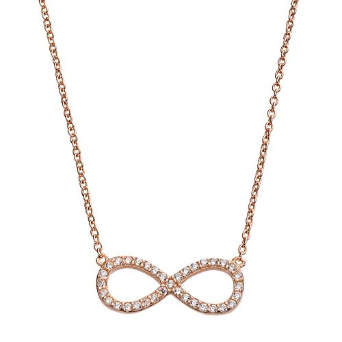 44266e9d5d Rose Gold Tone Sterling Silver Cubic Zirconia Infinity Necklace