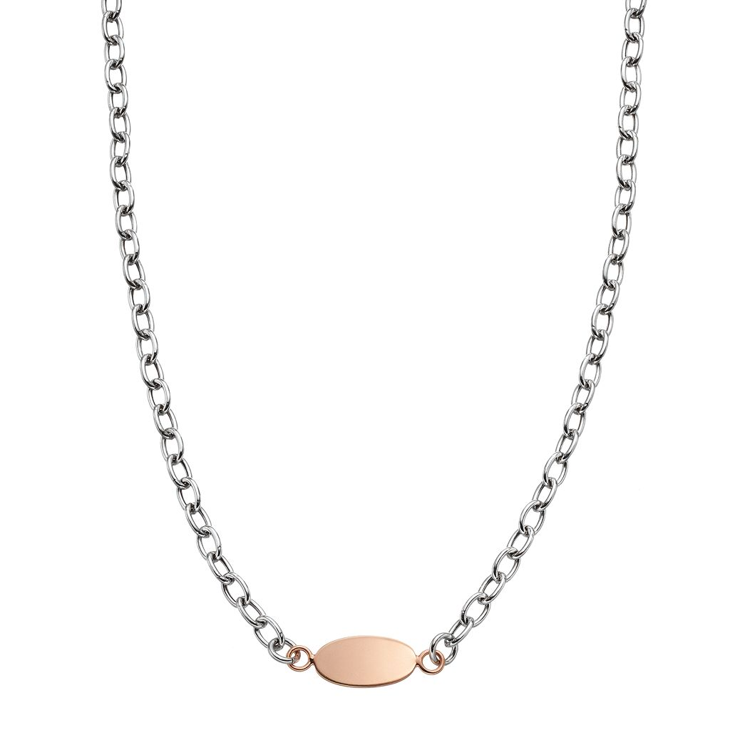 Two Tone Sterling Silver Oval Disc Necklace
