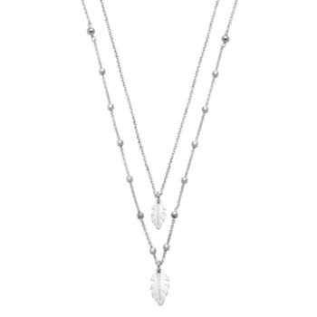 Sterling Silver Double Strand Leaf Pendant Necklace