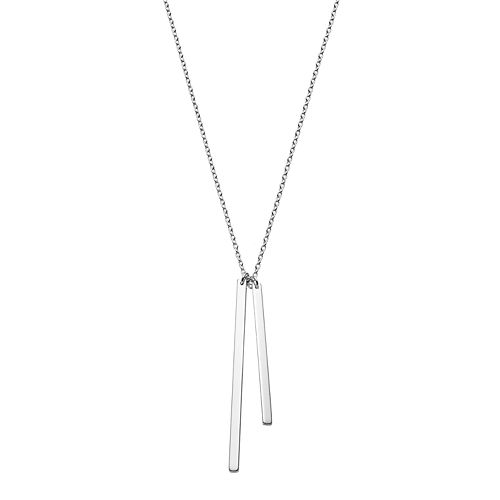 Sterling Silver Double Stick Pendant Necklace
