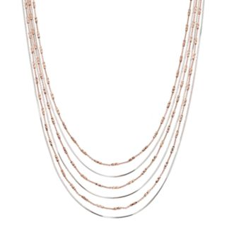 Two Tone Sterling Silver Multi Strand Snake Chain Necklace