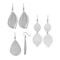 Mudd® Nickel-Free Sparkle Leaf Drop Earrings Set