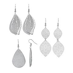 Mudd® Nickel-Free Sparkle Leaf Drop Earrings Set