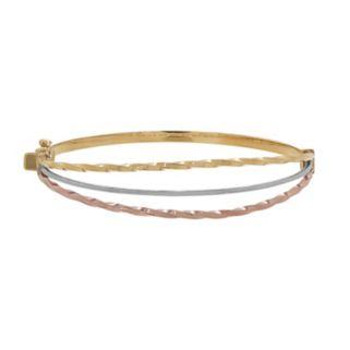 Everlasting Gold Tri-Tone 10k Gold Twist Bangle Bracelet