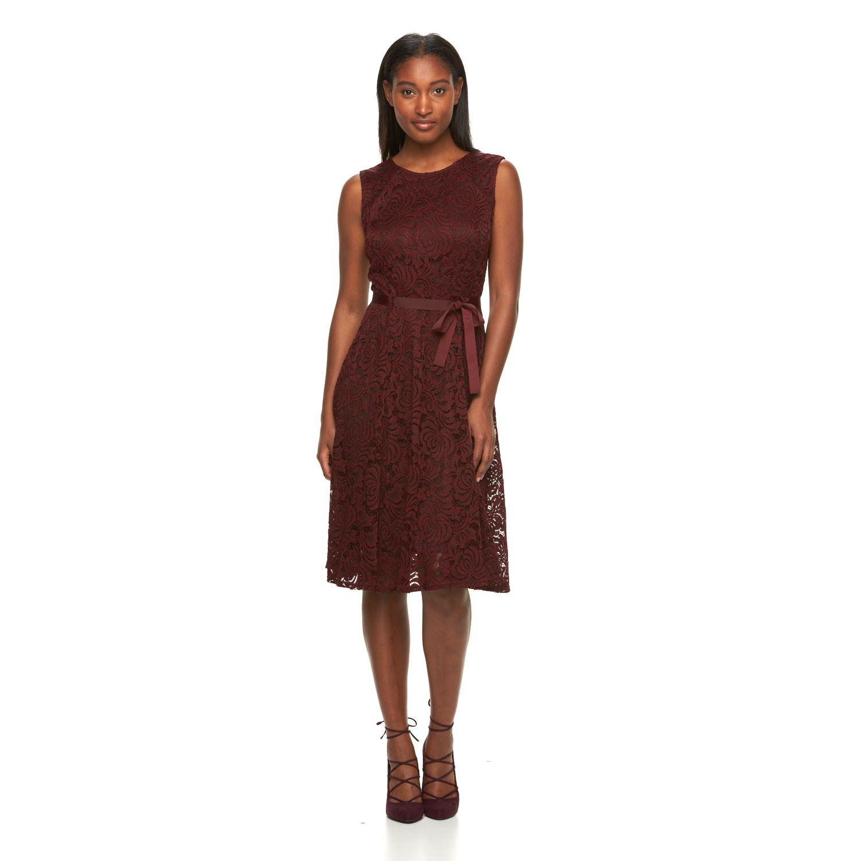 Womens Sharagano Lace Sheath Dress