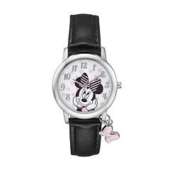 Disney's Minnie Mouse Women's Bow Charm Leather Watch