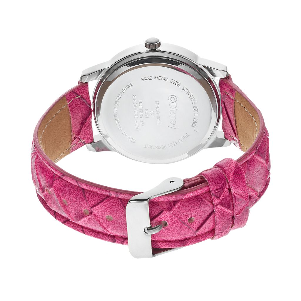 Disney's Minnie Mouse Women's Pink Leather Watch