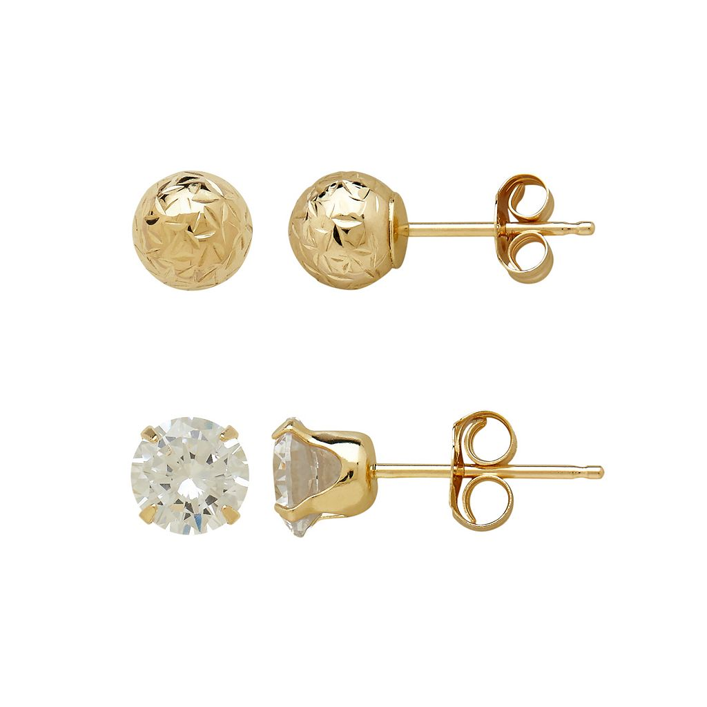 Everlasting Gold 14k Gold Textured Ball & Cubic Zirconia Stud Earring Set