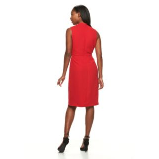 Women's Sharagano Bow-Front Crepe Fit & Flare Dress