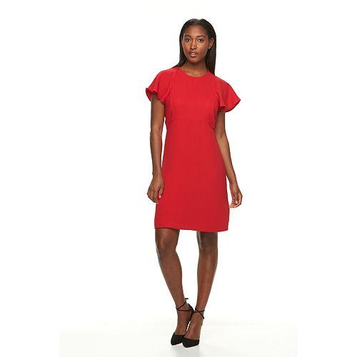 Women's Sharagano Flutter Sleeve Crepe Sheath Dress