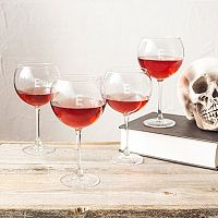 Cathy's Concepts 4 pc Monogram Spooky Red Wine Glass Set