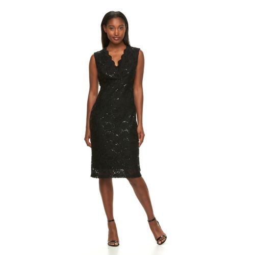 Women's Hope and Harlow Sequin Lace Midi Sheath Dress