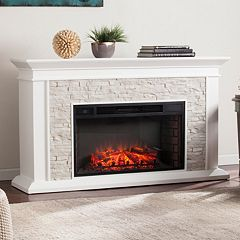 Banks Faux Stone Electric Fireplace