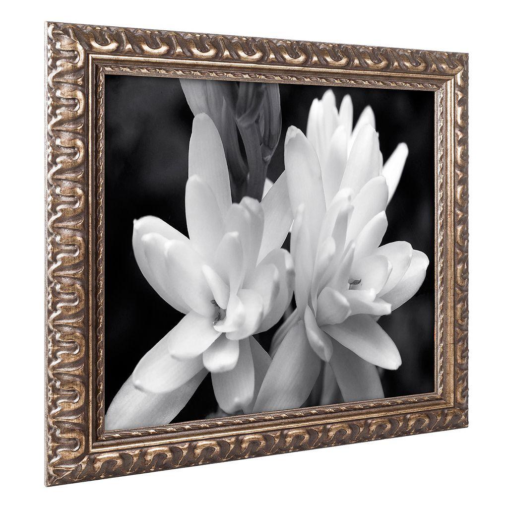 Trademark Fine Art Tuber Rose In Black And White Ornate Framed Wall Art