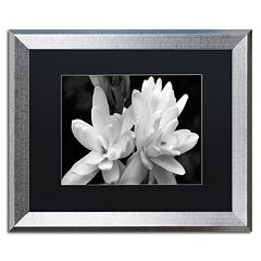 Trademark Fine Art Tuber Rose Silver Finish Framed Wall Art