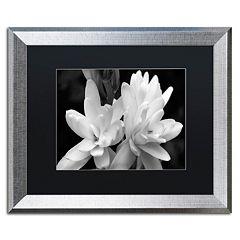 Trademark Fine Art Tuber Rose Silver Finish Framed Wall Art