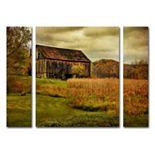 "Trademark Fine Art ""Old Barn on Rainy Day"" Wall Art 3-piece Set"