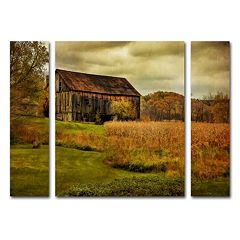 Trademark Fine Art 'Old Barn on Rainy Day' Wall Art 3 pc Set
