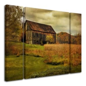 "Trademark Fine Art ""Old Barn on Rainy Day"" Wall Art 3-piece Set"