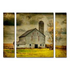 Trademark Fine Art 'Old Barn on Stormy Afternoon' Wall Art 3 pc Set