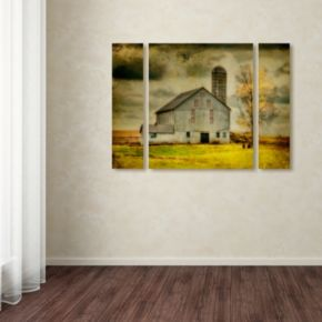 """Trademark Fine Art """"Old Barn on Stormy Afternoon"""" Wall Art 3-piece Set"""