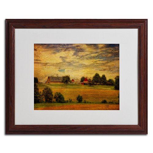 "Trademark Fine Art ""Summer Farm"" Matted Wood Finish Framed Wall Art"