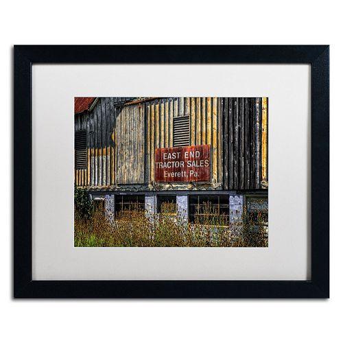 "Trademark Fine Art ""East End Tractor Sales"" Matted Black Framed Wall Art"