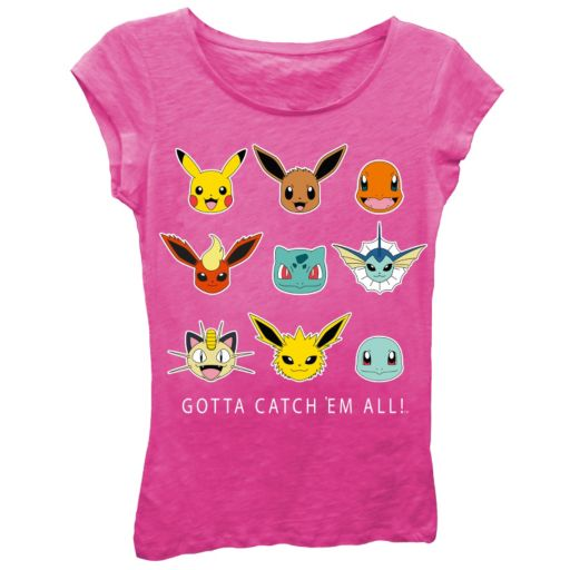 "Girls 7-16 Pokémon ""Gotta Catch 'Em All!"" Hot Pink Tee"
