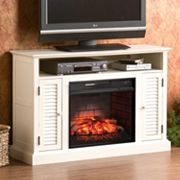 Antebellum White Infrared Electric Fireplace TV Stand