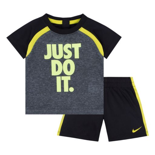 "Toddler Boy Nike ""Just Do It"" Colorblock Sport Tee & Shorts Set"
